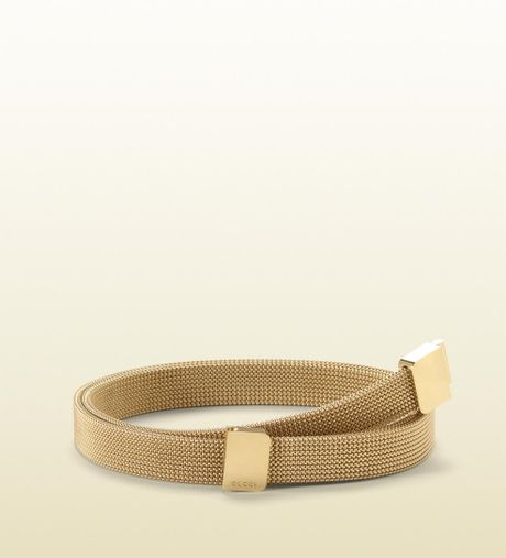 Gucci Skinny Metallic Belt with Interlocking Buckle in Gold