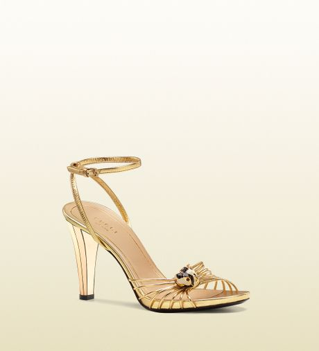 Gucci Lucille Mid Heel Sandal with Tiger Head Ornament in Gold (tiger)