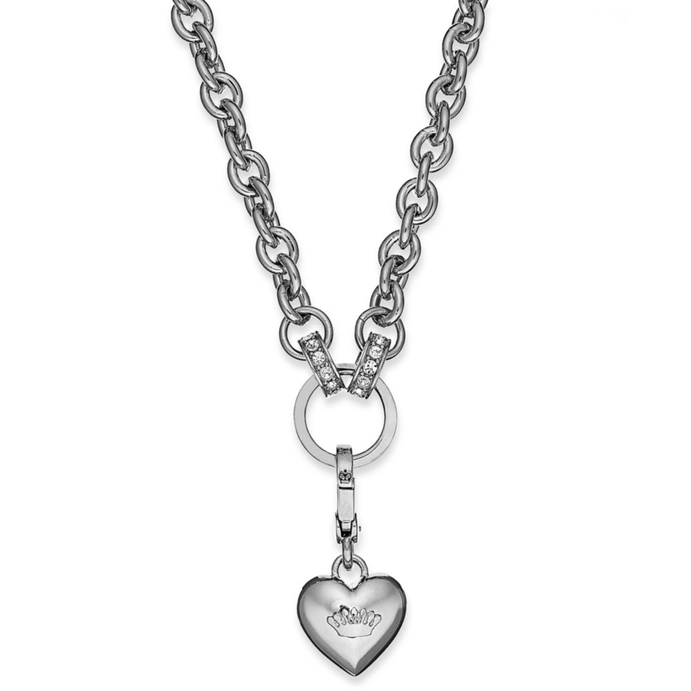 Lyst juicy couture silver tone heart charm catcher chunky link gallery aloadofball Gallery