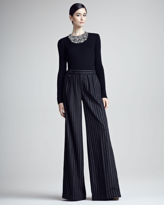 Wide Leg Black Dress Pants