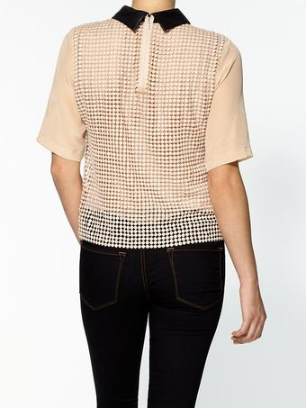 Tibi Labyrinth Lace Short Sleeve Silk Top - Lyst