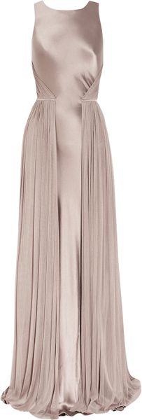 Amanda Wakeley Silksatin and Mesh Gown in Purple (mauve)
