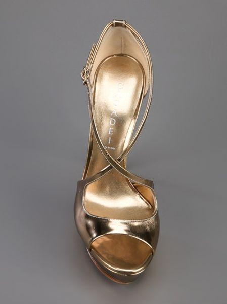 Casadei Open Toe Platform Sandal In Gold Lyst