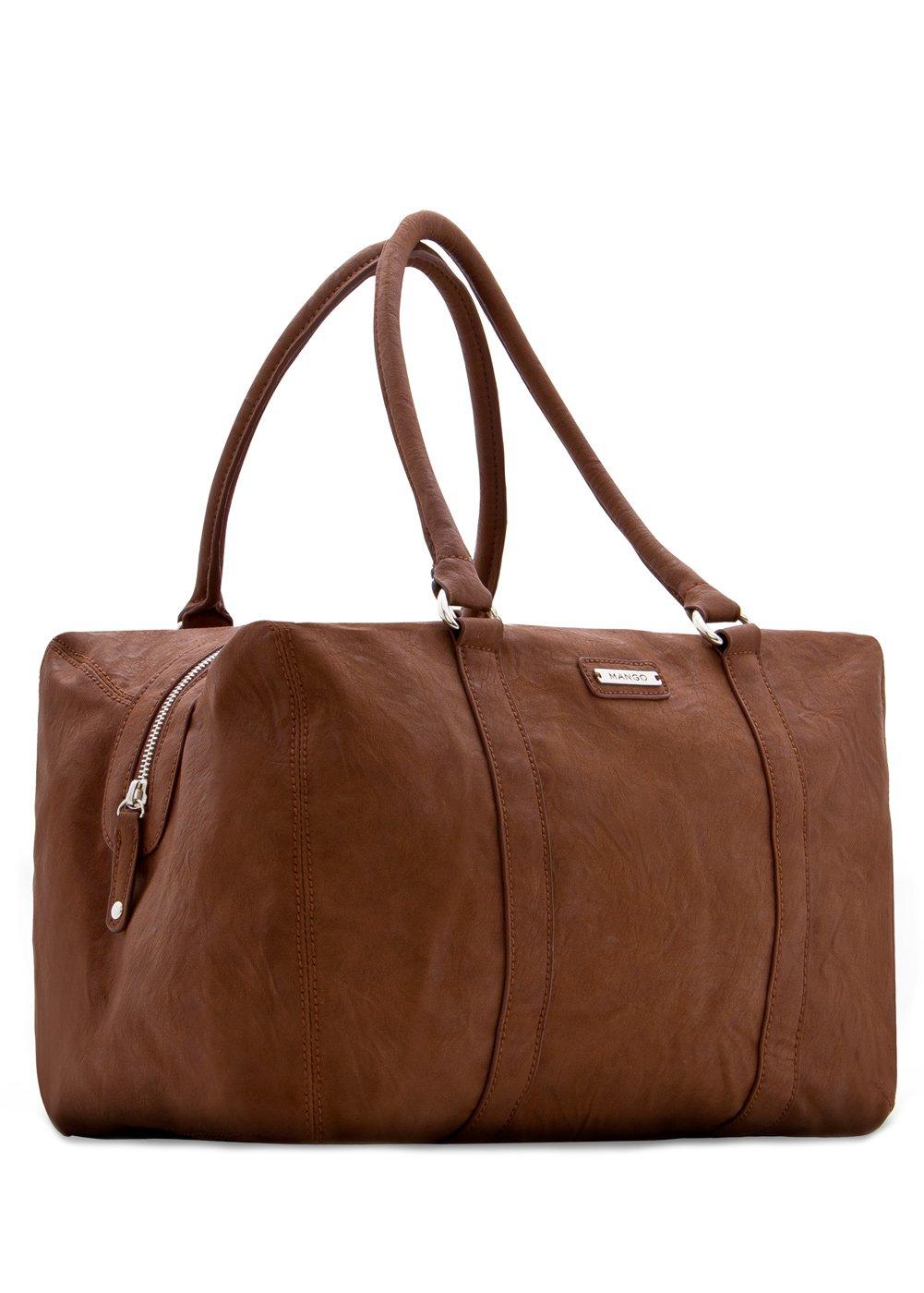 Lyst Mango Contrast Handle Shopper Bag In Brown