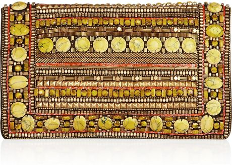 Matthew Williamson Embellished Suede Clutch in Brown (olive)