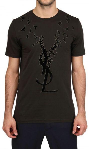 Saint laurent ysl birds flock logo jersey tshirt in black for Ysl logo tee shirt