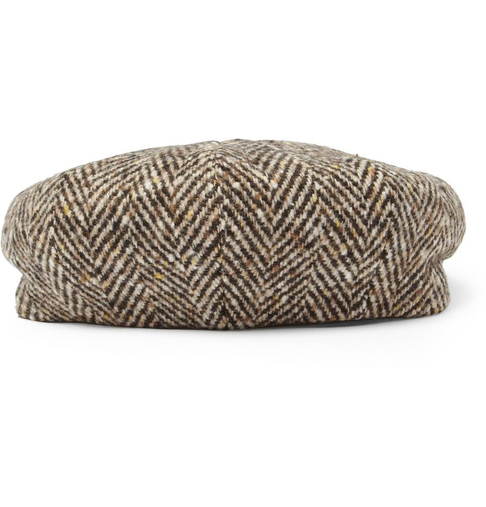 Lyst - Lock   Co. Herrringbone Wool Flat Cap in Gray for Men e7756026162d