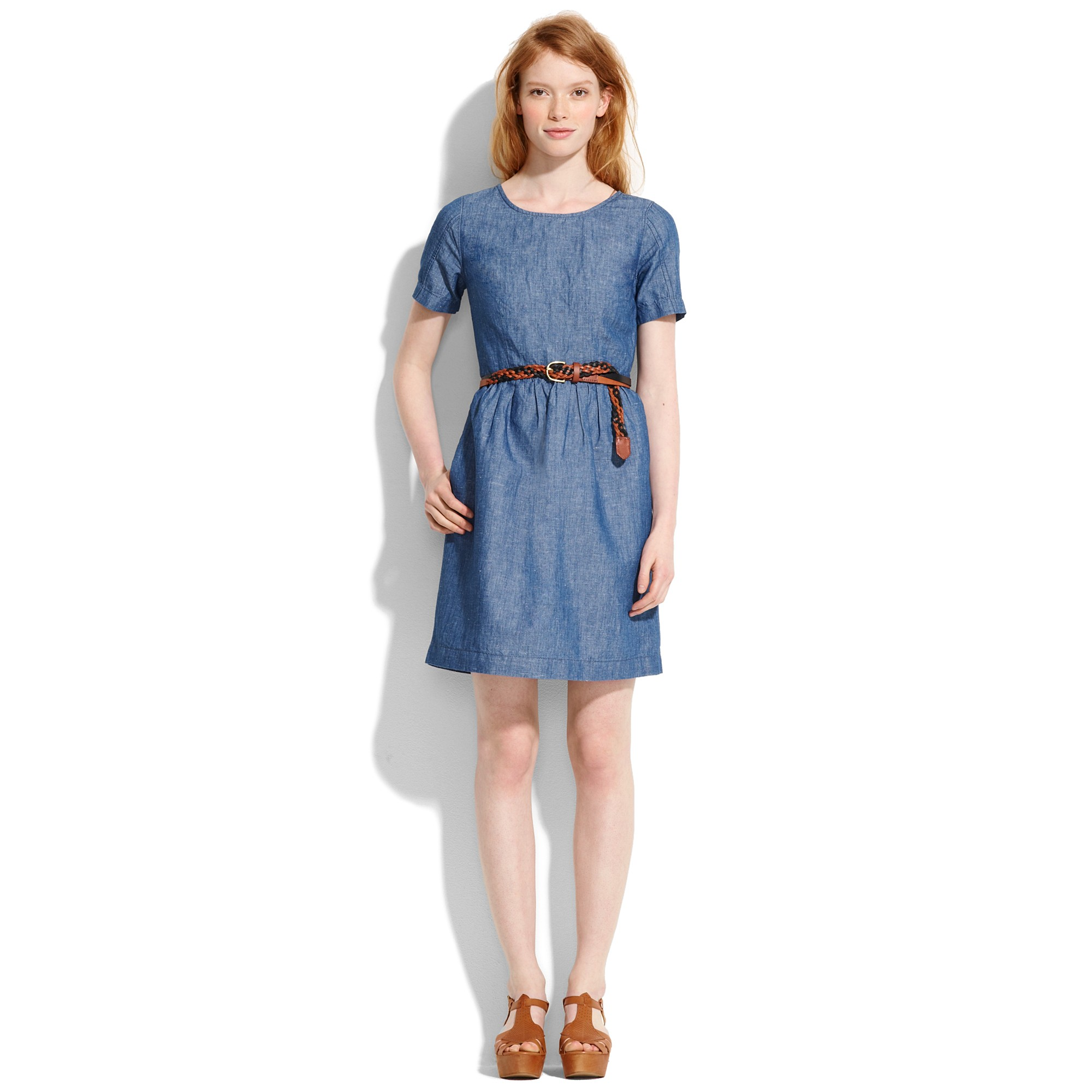 Lyst madewell chambray songbird dress in blue for Chambray dress