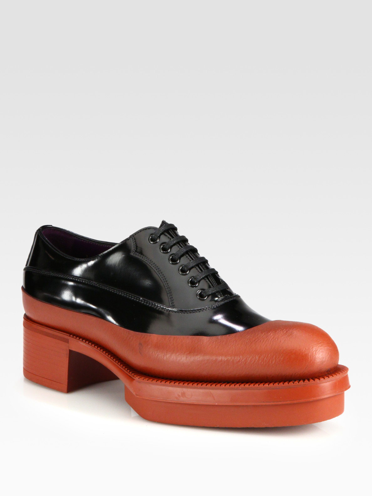 Prada Patent Leather Leather Laceup Platform Loafers in Brown ...