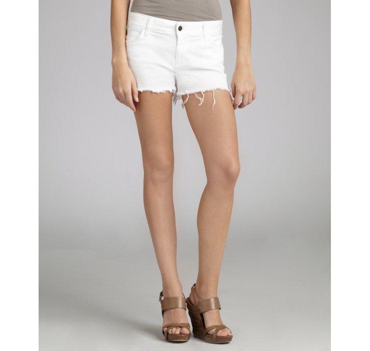 Siwy White Stretch Denim Camilla Cut Off Shorts in White | Lyst