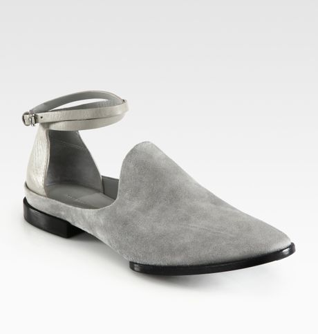 Alexander Wang Astrid Suede and Leather Ankle Strap Loafers in Gray (oyster)