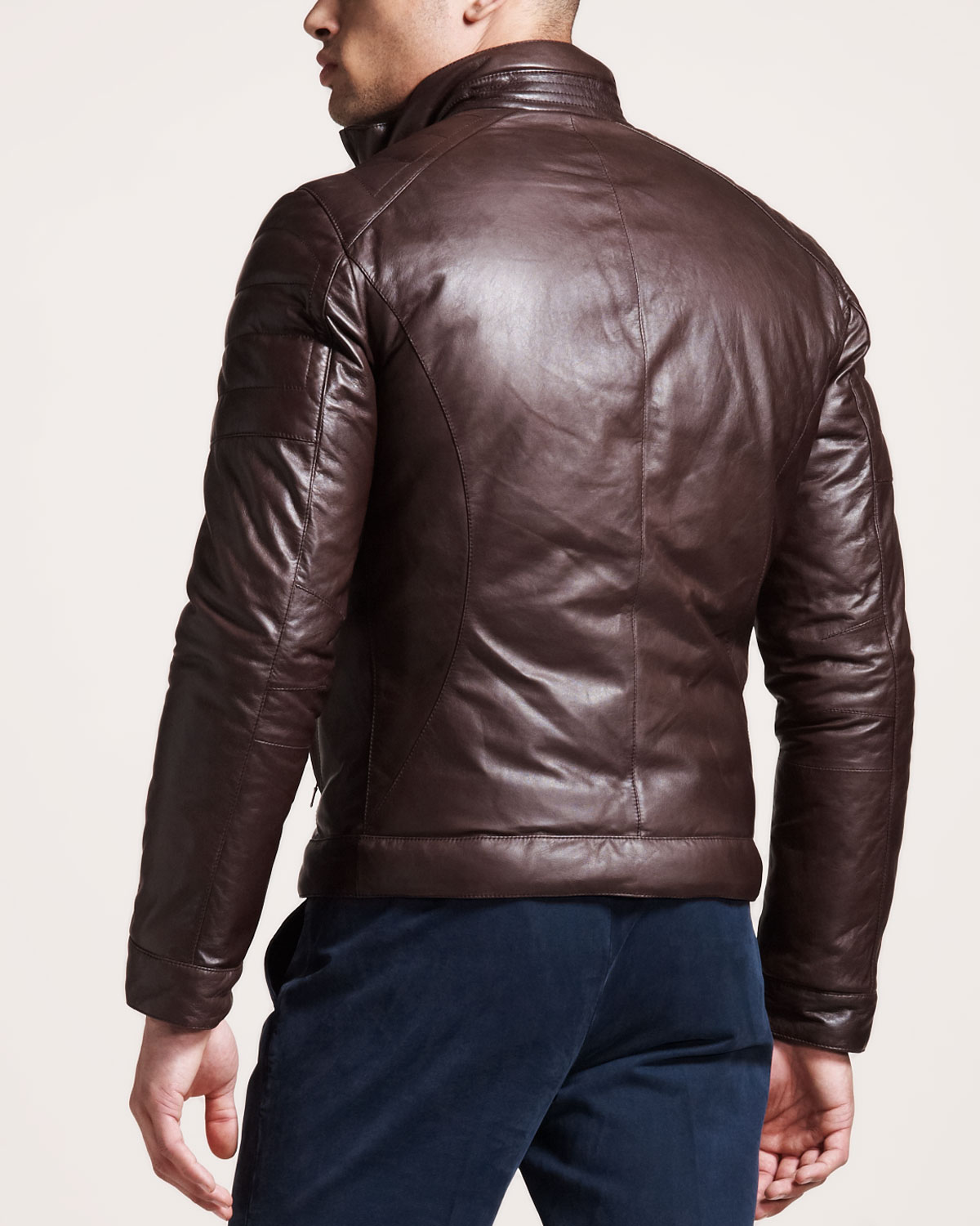 Brunello cucinelli Reversible Leather Motorcycle Jacket in Brown ...