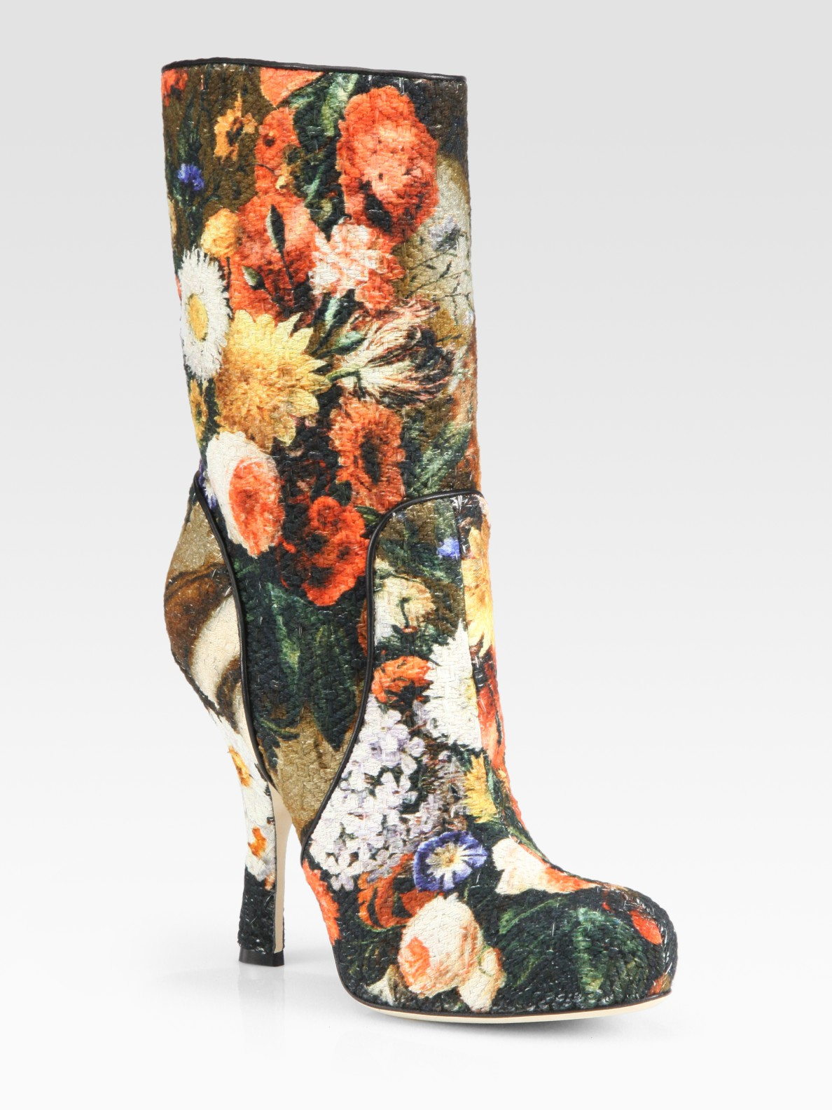 Lyst Dolce Amp Gabbana Floral Brocade Fabric And Leather