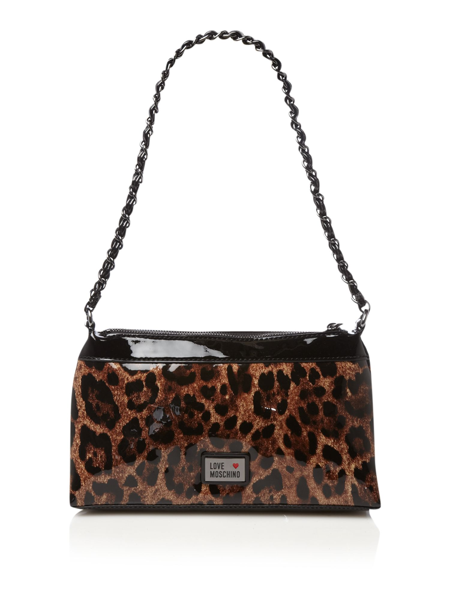 love moschino leopard print small shoulder bag in animal multi coloured lyst. Black Bedroom Furniture Sets. Home Design Ideas