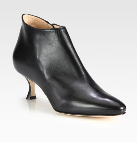 Manolo Blahnik Leather Ankle Boots in Black | Lyst