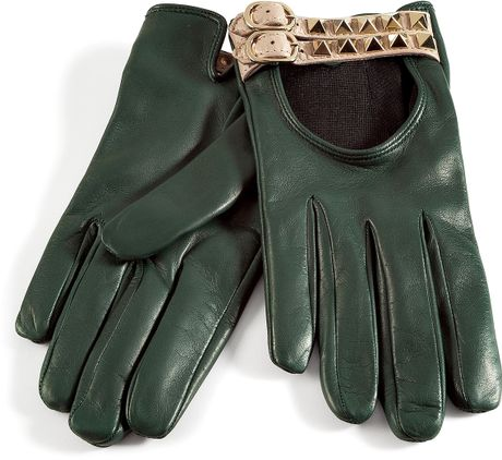 Valentino Royal Green Studded Driving Gloves in Green