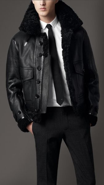 Burberry Shearling Aviator Jacket In Black For Men Ink