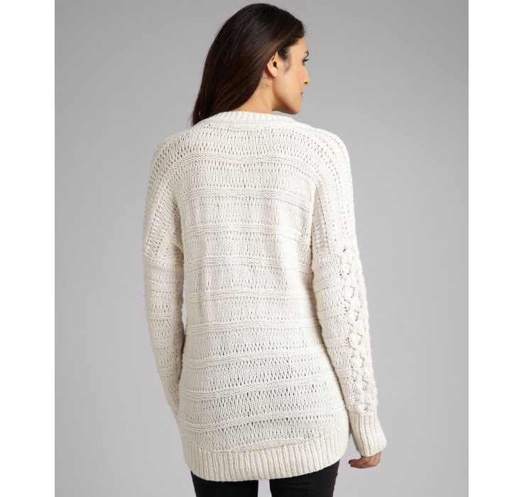 Lyst Duffy Ivory Wool Blend Cable Knit Sweater In White