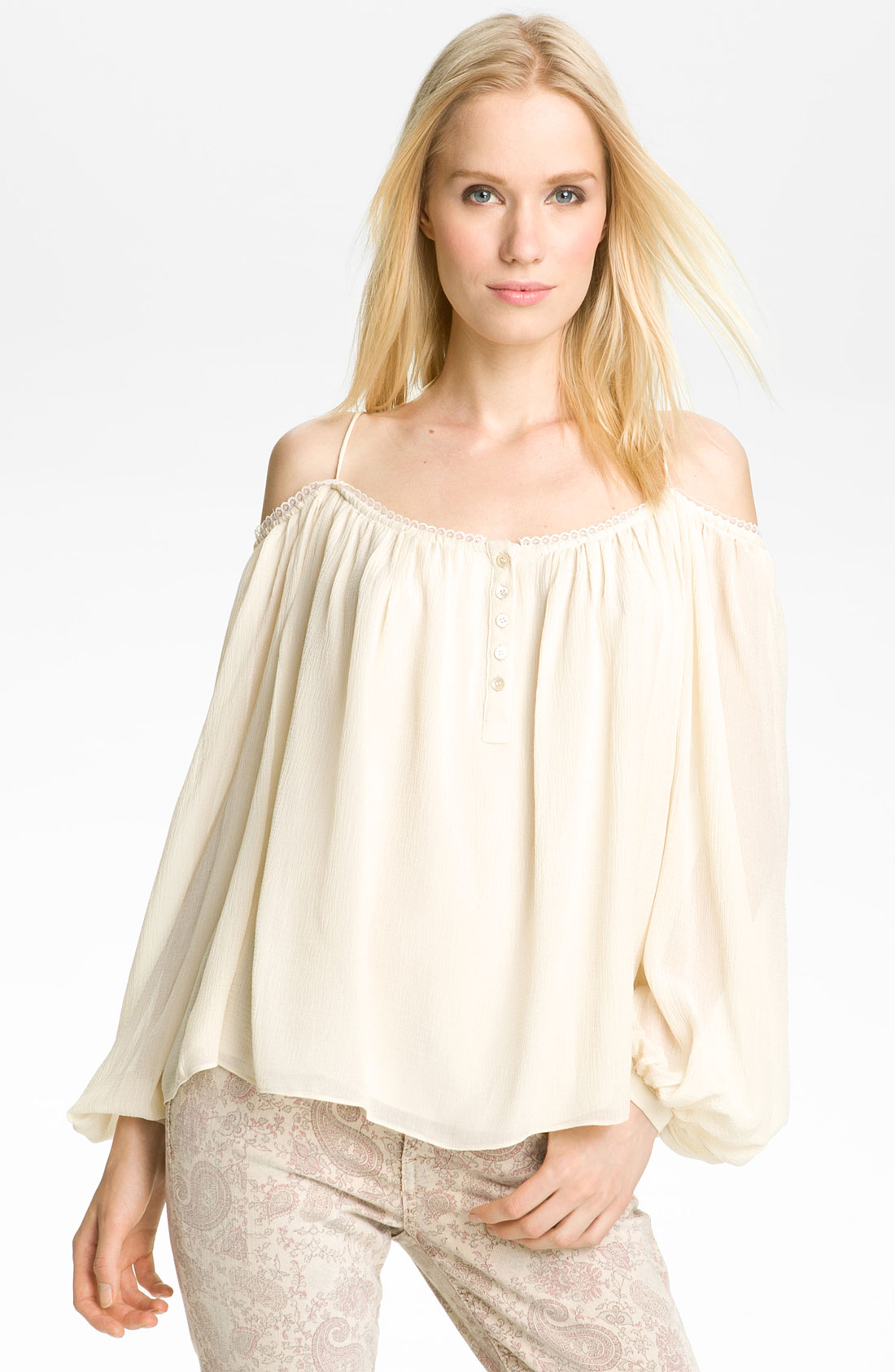 Lyst Haute Hippie Off Shoulder Peasant Blouse In White