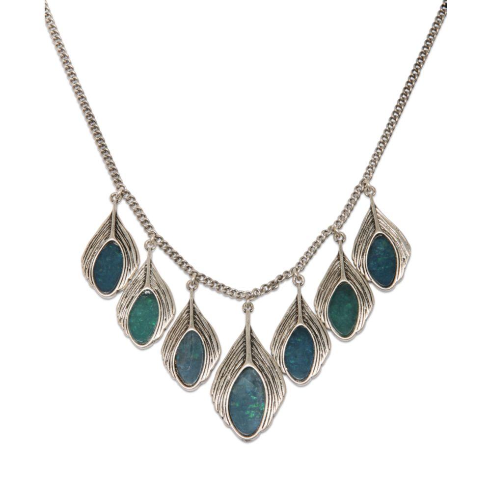 Lucky Brand Silver Tone Semiprecious Turquoise Peacock