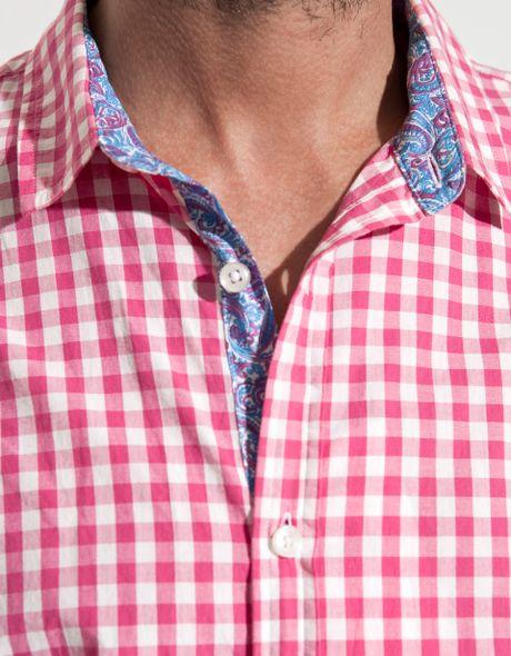 Zara Gingham Check Shirt In Pink For Men Fuchsia Lyst