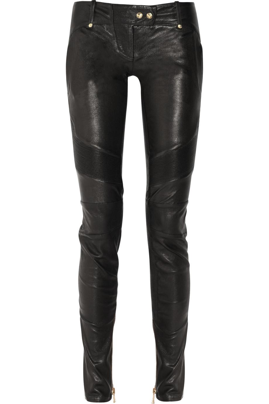 Balmain Skinny Leather Pants in Black | Lyst