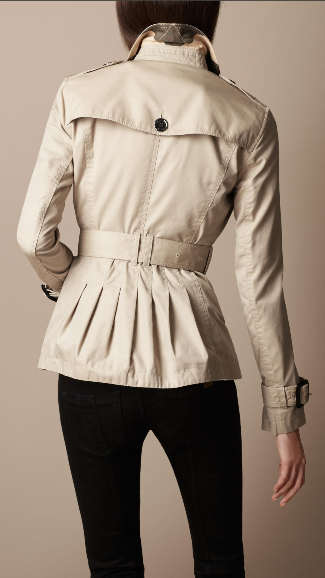 Burberry brit Short Cotton Gabardine Pin Tuck Trench Coat in ...