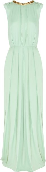 By Malene Birger Chain Trimmed Pleated Crepe Gown in Green (mint)