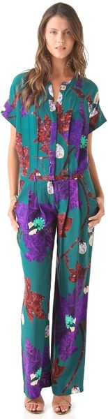 Matthew Williamson Marble Floral Jumpsuit in Multicolor (teal) - Lyst
