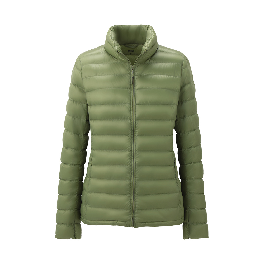 uniqlo women premium down ultra light jacket in green lyst. Black Bedroom Furniture Sets. Home Design Ideas