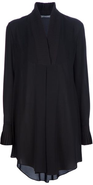 Alexander Mcqueen Silk Shirt Dress in Black