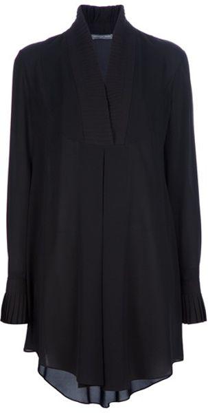 Alexander Mcqueen Silk Shirt Dress in Black - Lyst