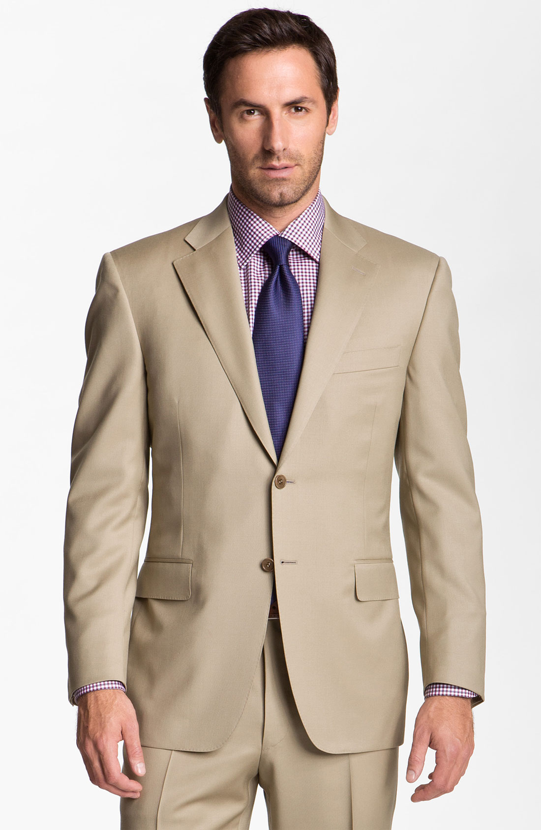 Canali wool suit in beige for men tan lyst for Nordstrom men s dress shirt fit guide