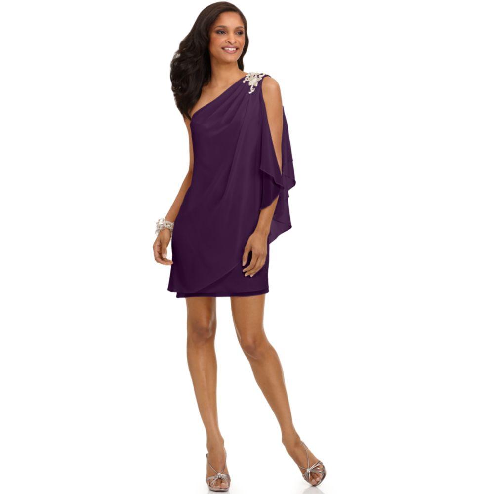 Js boutique One Shoulder Draped Evening Dress in Purple  Lyst