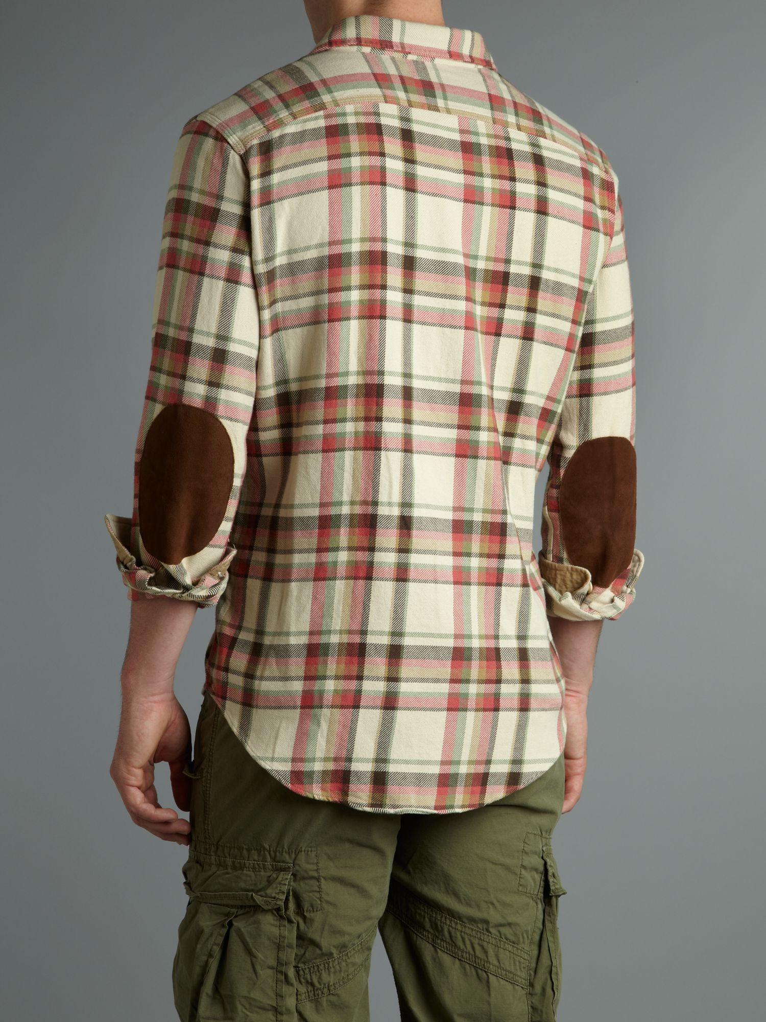 Polo ralph lauren long sleeved elbow patch plaid shirt in