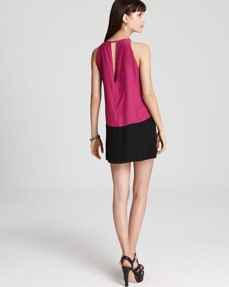 Parker Keyhole Dress Color Block in Purple (orchid black ...