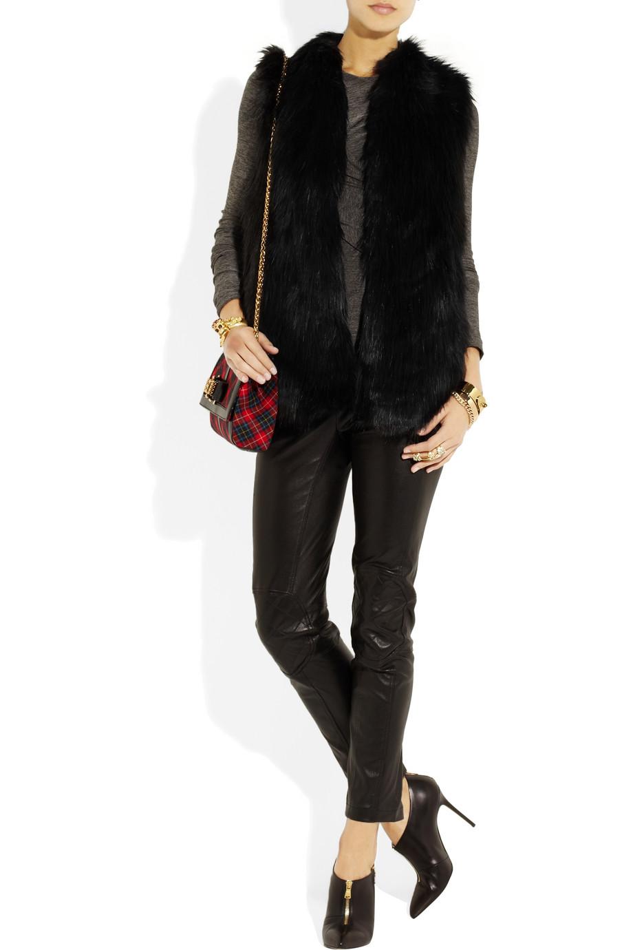 Lyst Dkny Hooded Faux Fur Wool Blend Coat In Black