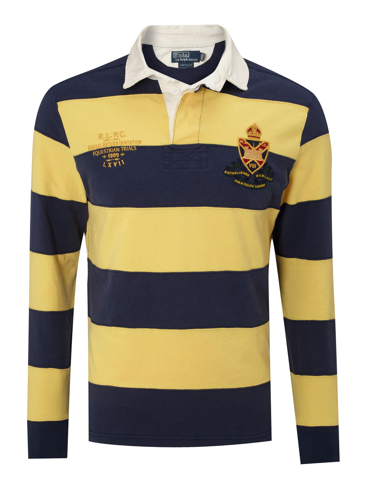 Polo Ralph Lauren Striped Rugby Top In Yellow For Men