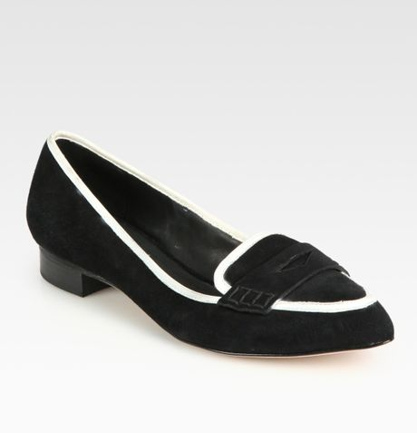 Alice + Olivia Madison Suede and Leather Loafers in Black - Lyst