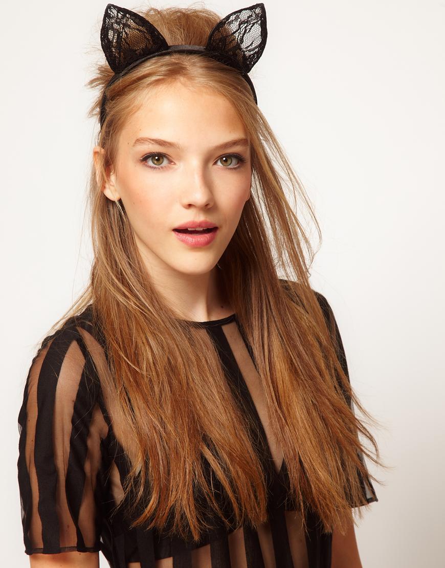 Lyst Asos Cat Ears Lace Headband In Black
