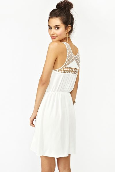 Nasty Gal Geo Crochet Dress in White