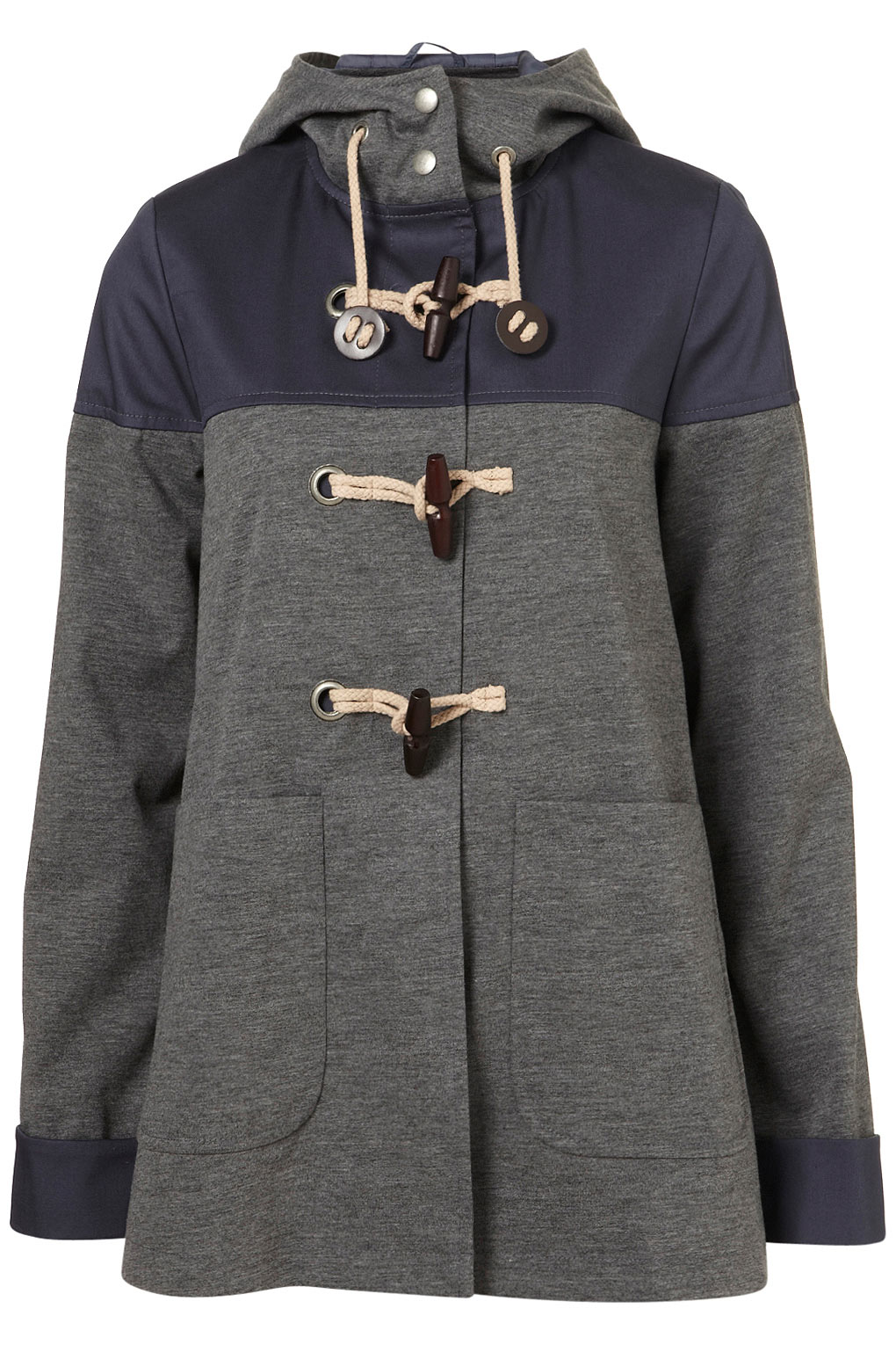 Topshop Cotton Hooded Contrast Duffle Coat in Gray | Lyst