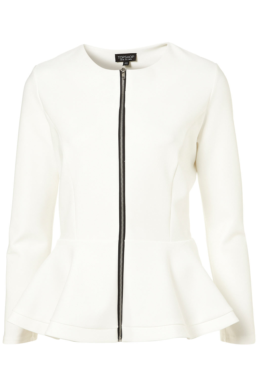 Lyst Topshop Scuba Peplum Jacket In White