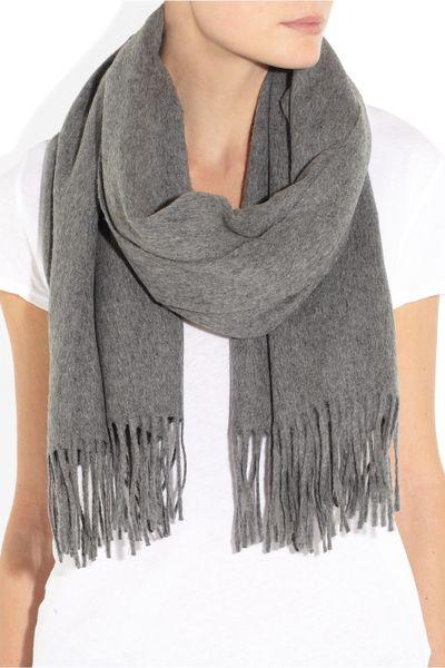 acne studios canada fringed wool scarf in gray lyst
