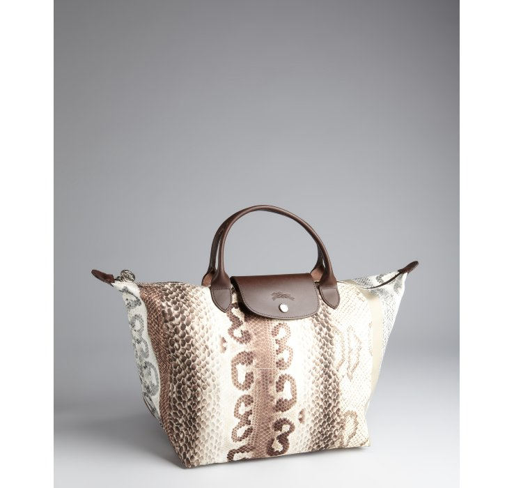 Lyst - Longchamp Snake Print Le Pliage Tote in Natural 02b6d17b00021