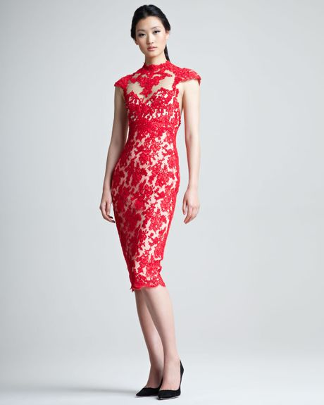 Marchesa Lace Cocktail Dress in RedRed Lace Party Dress