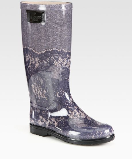 Valentino Lace Printed Rubber Rain Boots in Gray (grey) - Lyst