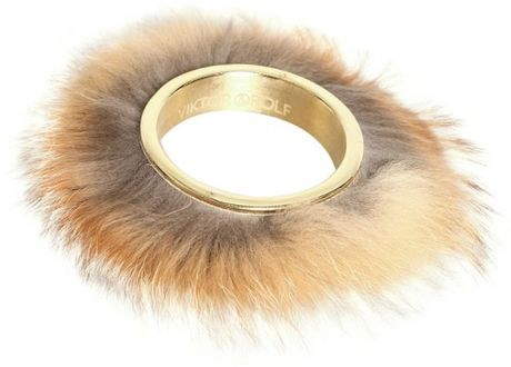 Viktor & Rolf Red Fox Fur Brass Metal Cuff in Beige (tan)