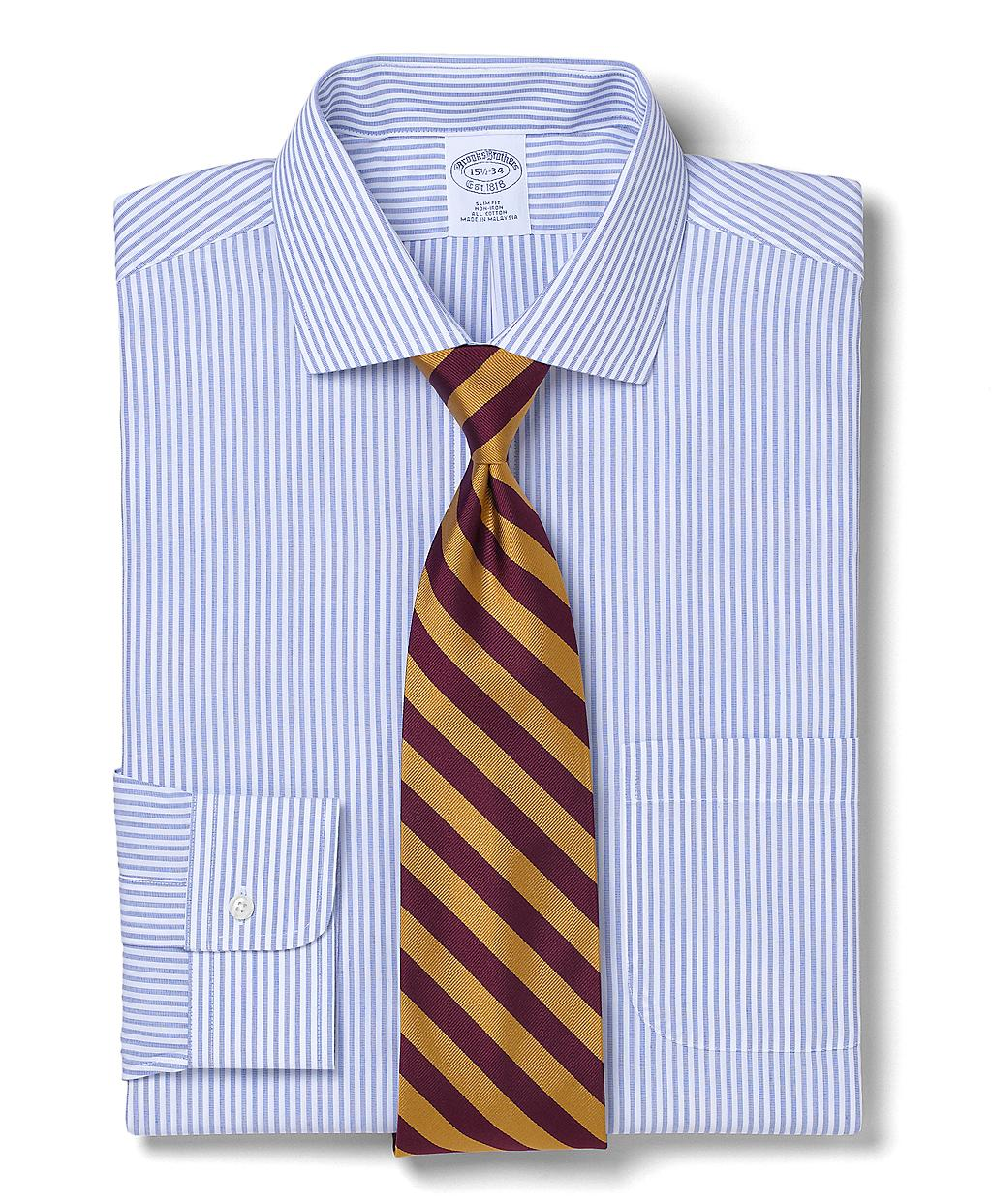 Brooks brothers allcotton noniron slim fit endonend bengal for Brooks brothers dress shirt fit guide