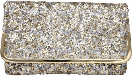 Dune Bequin Sequin Clutch Bag in Silver